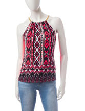 Wishful Park Aztec Print Split Back Top