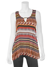 A. Byer Multicolor Tribal Print Hi-Lo Top