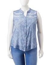 Self Esteem Juniors-plus Blue & White Paisley Knit Top