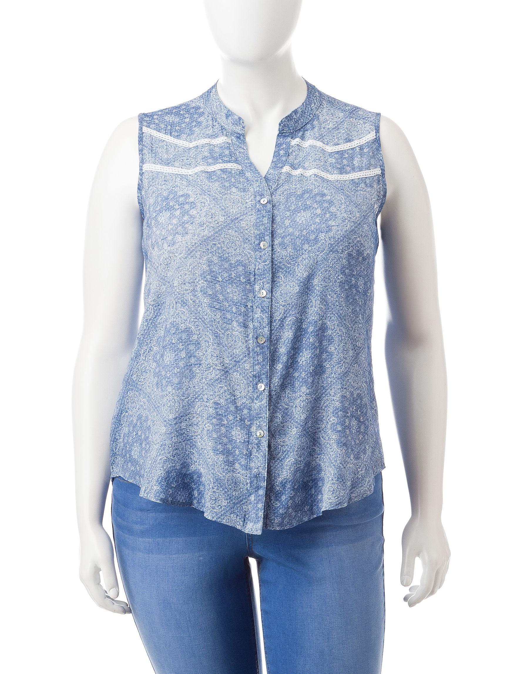 Self Esteem Blue / White Shirts & Blouses