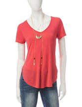 Self Esteem Coral Woven Top