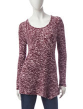 Signature Studio White & Maroon Knit Top