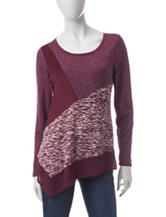 Signature Studio Faux Suede Marled Knit Top