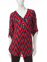 Wishful Park Navy & Red Chevron Print Top