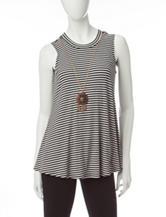 A. Byer Black & White Striped Top
