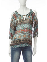 A. Byer Tribal Print Cold Shoulder Top