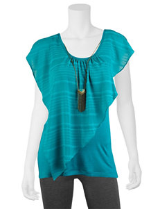 A. Byer Teal Striped Woven Top
