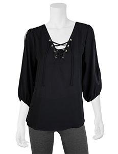 A. Byer Black Lace Up Top