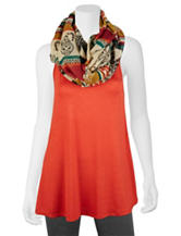 A. Byer 2-pc. Orange Knit Top & Scarf Set