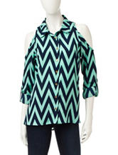Wishful Park Chevron Print Cold-Shoulder Top