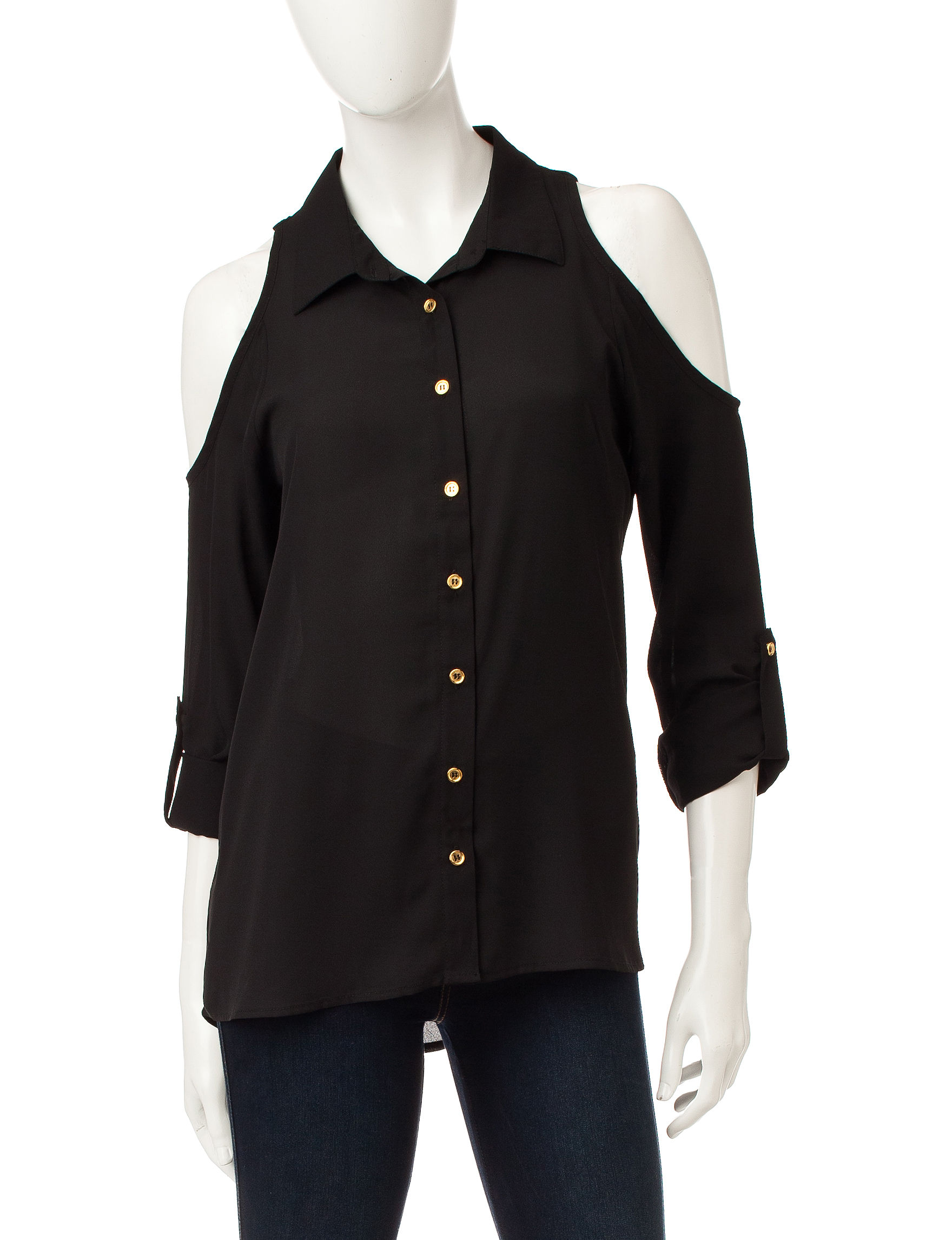 Wishful Park Black Casual Button Down Shirts
