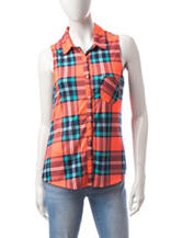 Ultra Flirt Multicolor Plaid Knit Top