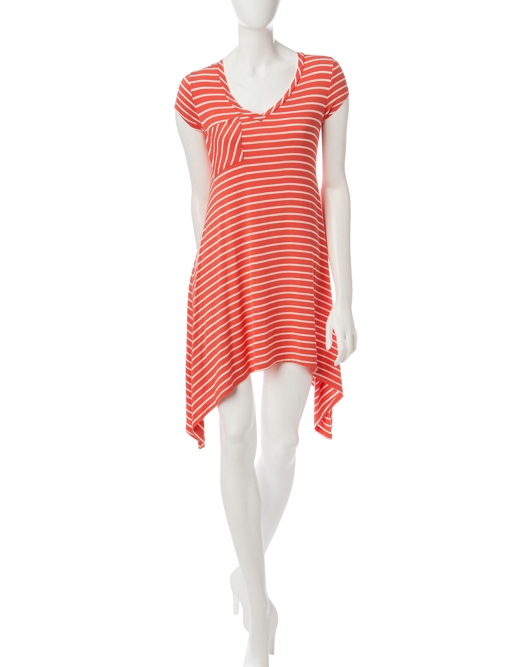 Ultra Flirt Coral Fit & Flare Dresses