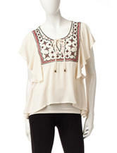 Heart Soul Lace Up Embroidered Peasant Top