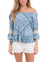 Eyeshadow Blue & White Paisley Print Peasant Top