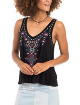 Eyeshadow Aztec Embroidered Tank Top