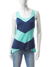 Wishful Park Navy & Mint Chevron Print Tank Top