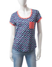 Wishful Park Anchor Chevron Print Ringer Top