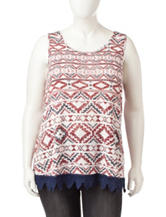 Ultra Flirt Juniors-plus Crochet Knit Tank Top