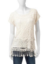 Signature Studio Ivory Crochet Knit Top
