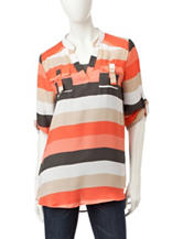 Wishful Park Multicolor Striped Chiffon Top