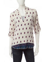 Wishful Park Multicolor Mixed-Print Chiffon Top