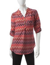 Wishful Park Multicolor Chevron Print Top