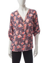 Wishful Park Floral Striped Zip Front Top