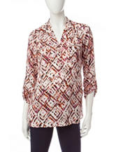 My Michelle Tribal Print Woven Top
