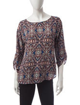 Wishful Park Geo Print Button Back Top