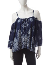 Wishful Park Cold Shoulder Floral Print Top