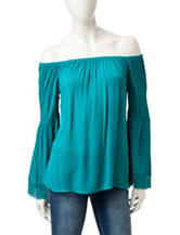 Heart Soul Teal Off-the-Shoulder Peasant Top