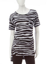 Kensie Zebra Striped Knit Top