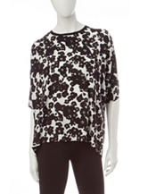 Kensie Black & White Floral Print Top