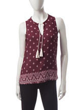 Wishful Park Burgundy Diamond Print Top