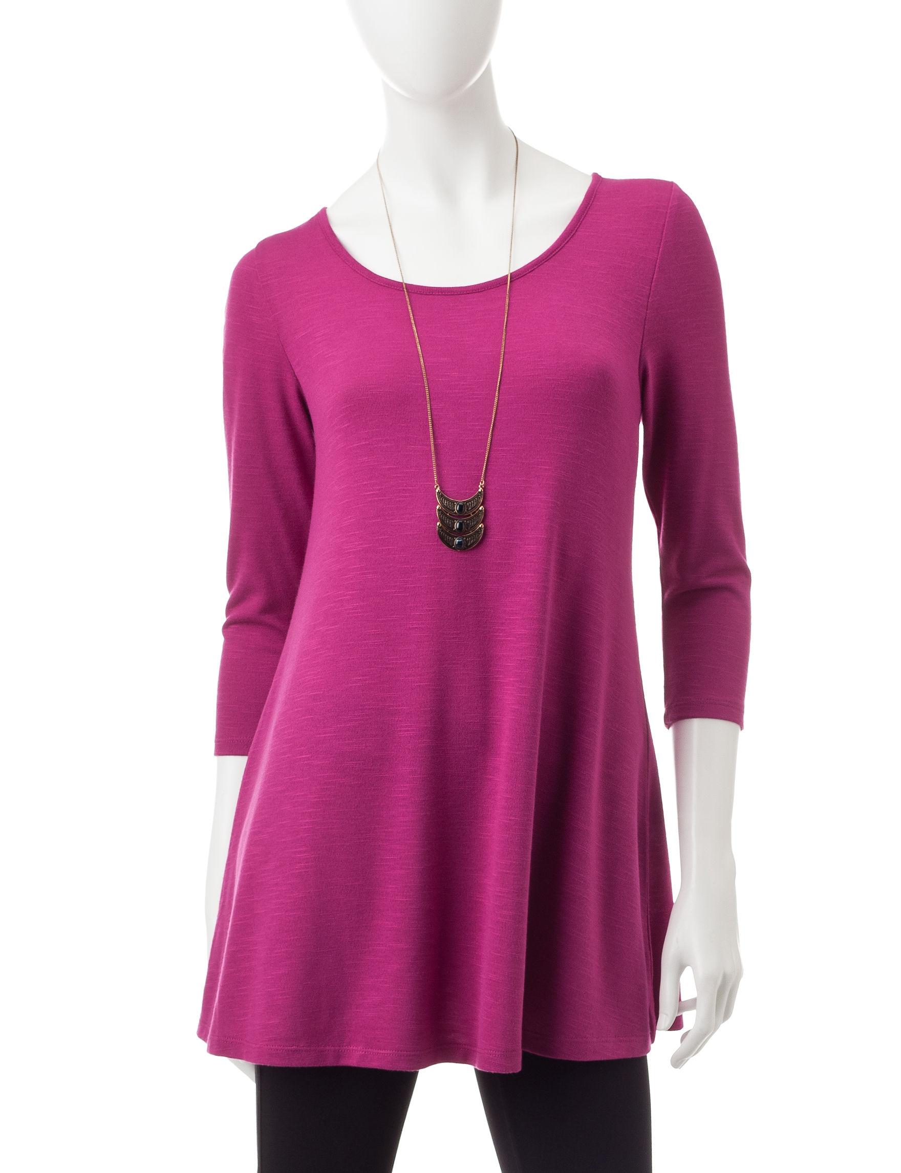 Heart Soul Fuchsia Shirts & Blouses
