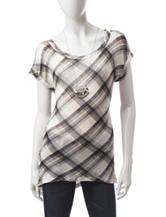 Heart Soul Black & White Plaid Knit Top
