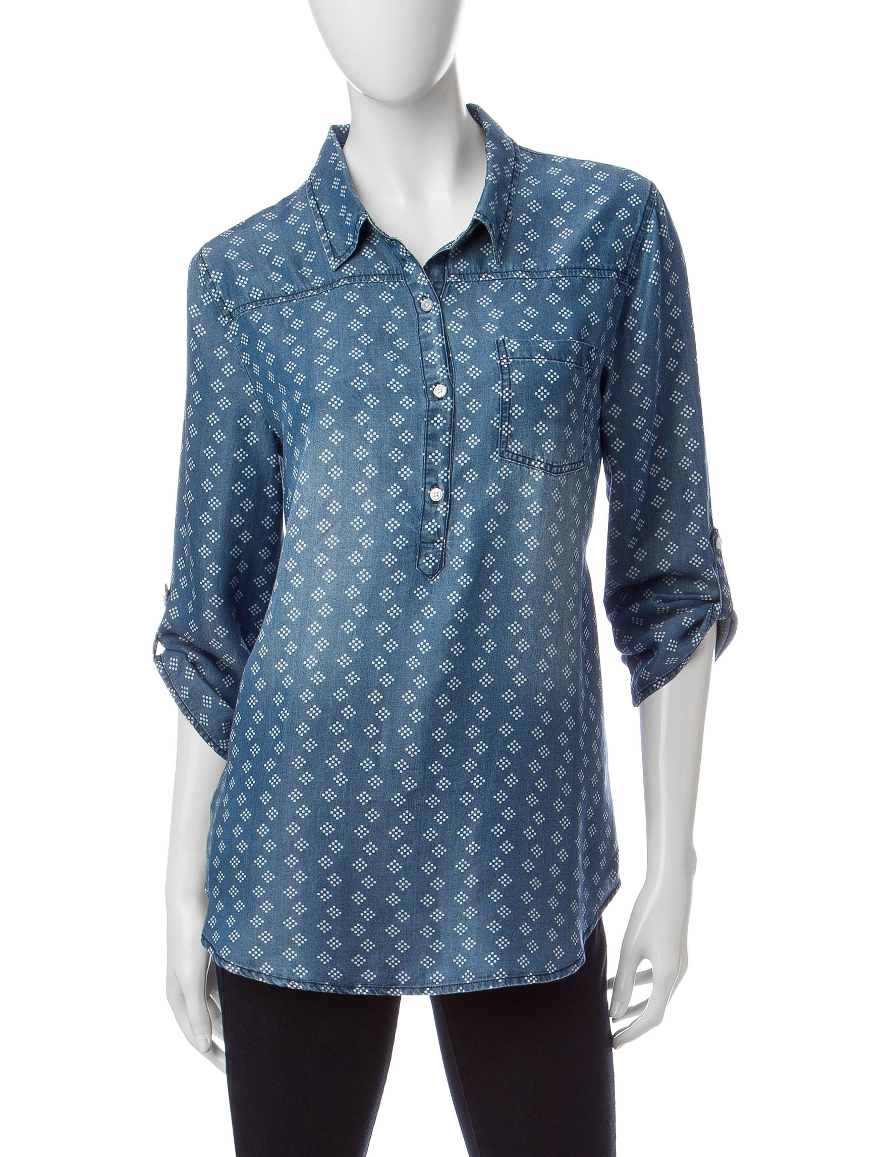 Heart Soul Blue / White Shirts & Blouses