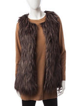 Signature Studio Tonal Brown Faux-Fur Vest
