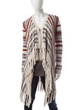 Signature Studio Multicolor Striped Fringe Cardigan
