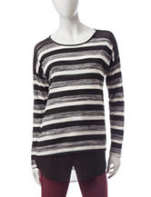 Signature Studio Striped Knit-to-Woven Top
