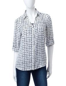 A. Byer Black & White Grid Print Woven Top