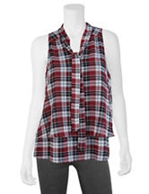 A. Byer Multicolor Plaid Layer Top