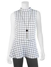 A. Byer Black & White Grid Knit Peplum Top