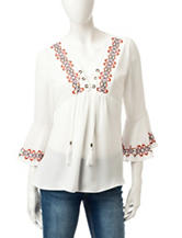 My Michelle White Embroidered Lace Up Peasant Top