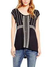 Jessica Simpson Zoe Embroidered Knit Top