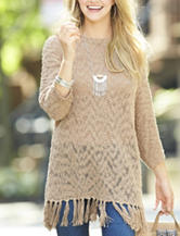 Signature Studio Beige Fringe Sweater