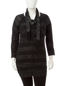 Extra Touch 2-pc. Juniors-plus Tonal Black Striped Sweater & Scarf Set