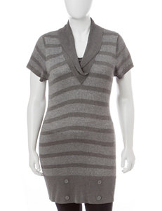 Extra Touch Juniors-plus Grey Striped Sweater Top