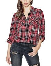 G by Guess Multicolor Plaid Print Catarine Top